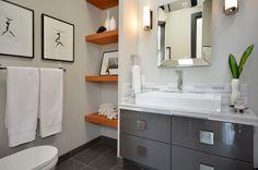 Wood shelves, grey vanity in the bathroom.