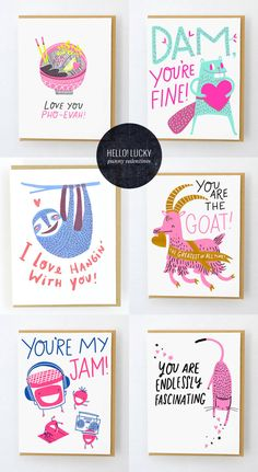 Punny Valentine Cards from Hello! Lucky #greetingcards #punny