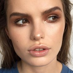 Bronze glossy makeup look.