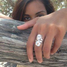Anello topazio bianco in argento 925 Anello contrarie di Freesize