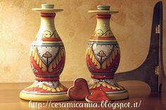 Candle holders, hand painted  #Maiolica #Italy. Candelabri di ceramica dip.a mano http://ceramicamia.blogspot.it/2013/06/colori-e-candelabri-di-ceramica.html