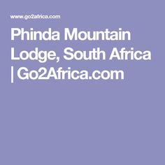 Phinda Mountain Lodge, South Africa | Go2Africa.com