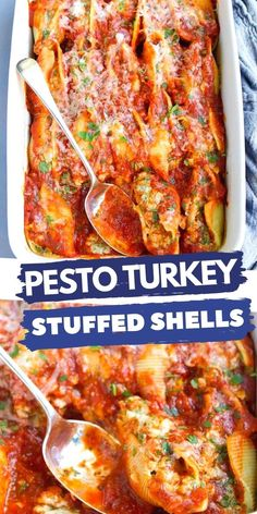 This pesto turkey stuffed shells recipe is lightened up with one of my favorite baked pasta tricks. They were an immediate hit with my whole family! 321 calories and 9 Weight Watchers SP | Recipe | Easy | Spinach | Cheese | Healthy | Skinny #stuffedshells #stuffedshellsrecipe #groundturkeyrecipes #bakedpasta #feedacrowd #weightwatchers #smartpoints