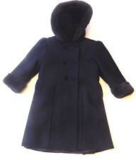 Toddler Girls Stephanie Matthews Kids Navy Blue Wool Dress Coat Faux Fur Size 3T