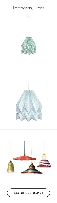 """""""Lamparas, luces"""" by yblacasa on Polyvore featuring home, lighting, ceiling lights, rope chandelier, woven basket, red chandelier, weaved baskets, colored rope lights, home decor y green home accessories"""