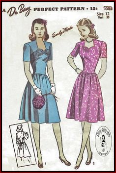 DuBarry 5583 (1943) Easily Made Lovely Dress with Sweetheart Neckline dated 1943. Bodice has a shaped neckline in front. Skirt is gathered at upper edge and joins bodice below natural waistline. Three-quarter or short sleeves may be used. Fig. 1 has a contrasting band and bow at neck.