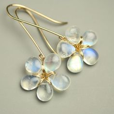 Shimmering Rainbow Moonstone Flower Earrings