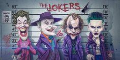 Caricatures de Cesar Romero, Jack Nicholson, Heath Ledger et Jared Leto alias The Joker par Brice Mercier Joker Et Harley, Le Joker Batman, Batman Comic Art, Gotham Batman, Batman Comics, Batman Robin, Harley Quinn, Funny Cartoon Faces, Cartoon Art