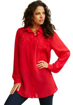 Embroidered Lace Bigshirt from Denim 24/7 | Plus Size Long Sleeve | Roamans
