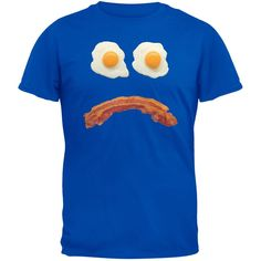Mr. Sad Face Bacon And Eggs Blue Adult T-Shirt