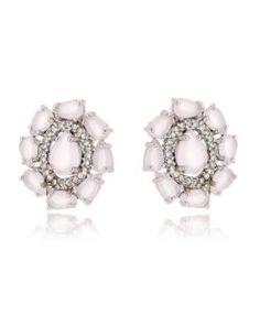 brinco pequeno quartzo rosa com zirconias cristais e banho de rodio semi joias de luxo
