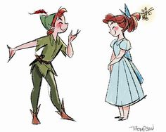 Cute Peter Pan and Wendy Sketch Illustration in watercolor and colored pencil