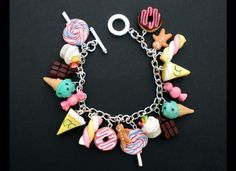 10 Faux Food Accessories Faux Food Charm Bracelet The post Quirky Fashion Trend Alert! 10 Faux Food Accessories appeared first on… Polymer Clay Kunst, Cute Polymer Clay, Cute Clay, Fimo Clay, Polymer Clay Projects, Polymer Clay Charms, Polymer Clay Creations, Polymer Clay Jewelry, Clay Crafts