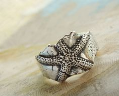 Starfish Silver Ring, Nautical Jewelry, Eco Friendly Recycled Fine Silver Ring, Beach Jewelry, Custom Size 4 5 6 7 8 9 10 11 12 13 14. $69.00, via Etsy.