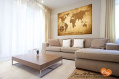 Large Rustic World Map Fabric Wall Decal by JanetteDesign on Etsy, $115.00