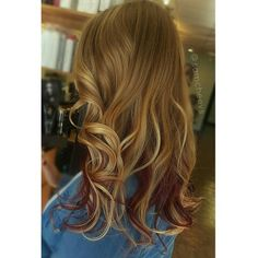Blonde Ombre with red underneath
