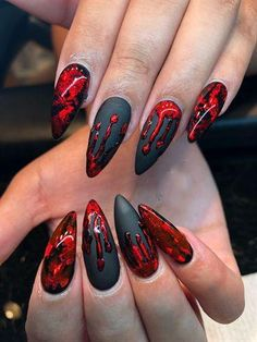 Bloody Halloween by AlysNails from the Nail Art Gallery - Blood . - Bloody Halloween by AlysNails from the Nail Art Gallery – Blood … – Bloody H - Ongles Gel Halloween, Nail Art Halloween, Bloody Halloween, Halloween Nail Designs, Halloween Coffin, Creepy Halloween, Halloween Ideas, Halloween Bride, Nail Art Designs