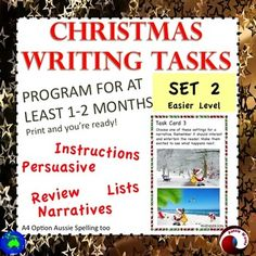 12 individual, illustrated Writing Task Cards to use in your writing Center. A  Christmas Writing Program for a month at least! Suitable for Grade 2-4 Print, laminate, no more to do!These tasks are varied,creative and FUN!Students are enthusiastic, thoughtful and occupied I think these tasks will get the creative juices flowing.