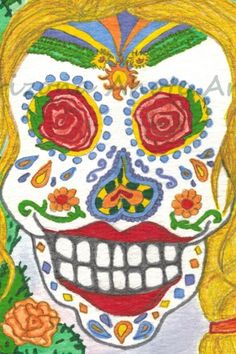 Print of Original Day of the Dead Woman Braid Watercolor Painting 4x6 | ArizonaAhoteArt - Print on ArtFire