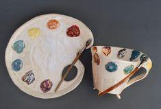 Tea cup and saucer set Artist's palette Coffee mug and plate Handmade Porcelain Tea Set Rainbow Art mug Artist gift Creative gift Ceramic Clay, Ceramic Pottery, Pottery Art, Slab Pottery, Pottery Wheel, Pottery Studio, Ceramic Bowls, Diy Clay, Clay Crafts
