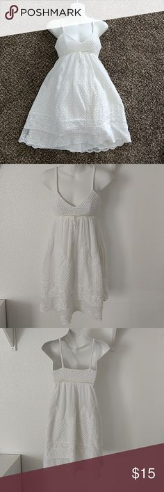 Rachel Roy cute White summer/beacg Dress Haven't used and just sitting in my closet Have a couple of yellowish stains,but not that visible Dry clean only Length:32in (including the shoulders) Armpit to Armpit: 14in Under the bus line:13in RACHEL Rachel Roy Dresses