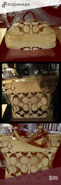 Coach purse.  Authentic! Excellent condition. Size Large. It has a line with gold sequins on the top. With authenticity code.  Check my other listings! Coach Bags Shoulder Bags
