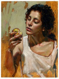 Diego Dayer, oil on canvas {beautiful female eating apple woman face portrait painting #loveart} diegodayer.com