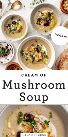 This homemade cream of mushroom soup is so much better than the canned kind! Made with a full pound of fresh mushrooms, it's delicious, healthy, and easy to make. Vegetarian Soup, Vegetarian Dinners, Vegetarian Recipes, Healthy Recipes, Vegetarian Protein, Vegan Soups, Vegan Meals, Vegan Food, Easy Recipes