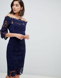 760b920e4a Paper Dolls off shoulder crochet dress with frill sleeve in navy Online  Dress Shopping