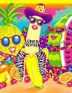These Lisa Frank fruits are FAB!  I totally had this stationary. I remember writing thank you notes to my friends on it.