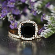 Halo Wedding Ring Set in 14k Rose Gold Half by LaMoreDesign
