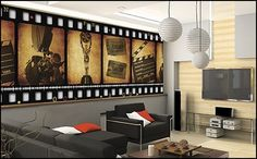 Decorating theme bedrooms - Maries Manor: Movie themed bedrooms - home theater design ideas - Hollywood style decor - movie decor - Film decor - home cinema decor - movie theater decor - Home Theater Curtains Home Design, Home Theater Design, Home Theater Seating, Design Ideas, Deco Cinema, Cinema Room, Sala Cinema, Home Theater Curtains, Home Theater Rooms