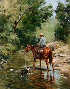 """John Austin Hanna - """"Cooling Their Heels"""" -Oil on Canvas 30 x 24 - This painting was submitted to The Briscoe Western Art Museum Show and Sale in San Antonio, Texas. The opening is Saturday, March Cowboy Artwork, Arte Equina, Cowboy Pictures, West Art, Equine Art, Country Art, Wildlife Art, Horse Art, Native American Art"""