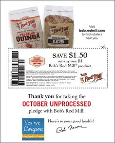 *HIGH VALUE* $1.50/1 Bob's Red Mill Coupon! - http://yeswecoupon.com/high-value-1-501-bobs-red-mill-coupon/