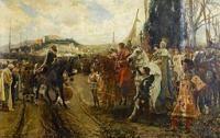 La rendición de Granada: el sultán Boabdil entrega la ciudad a los Reyes Católicos en 1491.