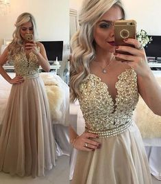 Lace Prom Dress,Sexy A-Line Prom Dresses, Beading Prom Dresses, Champagne Prom Dresses for Women, Formal Evening Dresses, Long Prom Dresses
