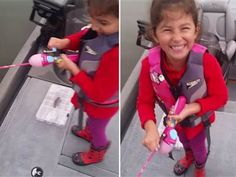 Watch dad cheer on daughter as she reels in big bass — with Barbie fishing pole