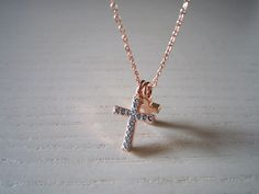 Rose Gold Cross Necklace- Etsy- $12.00 + 4.50 S