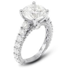 4.13 Carat Excellent Cut Round D-VS1 GIA Certified Diamond 18k Gold Accents Engagement Ring 5.41gr