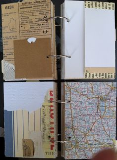 Scrap Paper Journal - Shelley Malone - Loved the ripped paper [bottom left] and the corner pocket [top left].