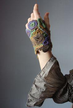 CHINESE DRAGON Designer Textile cuff / bracelet fingerless glove wool felted felt knotted braided epictt teamb tpt team etsy team HMET: