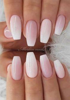 Gorgeous wedding nail designs for brides... Idal nails 2019... Ding nails bride... Ding nails with glitter... Ils for wedding guest elegant wedding nails... Il art design for wedding