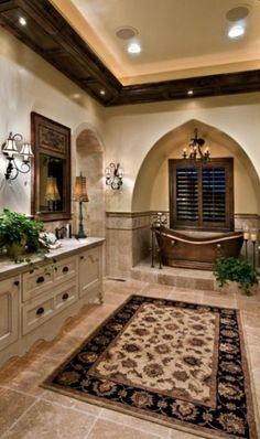 Tuscan bathroom design is said to be a perfect combination of sheer indulgence and timeless beauty. When designing a bathroom, … Tuscan Bathroom Decor, Bathroom Wall Decor, Bathroom Colors, Bathroom Styling, Master Bathroom, Bathrooms Decor, Bathroom Lighting, Bathroom Small, Bathroom Designs