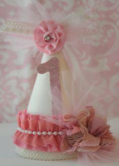 Shabby chic party hat/ shabby chic birthday hat/ pink birthday hat. $17.00, via Etsy.
