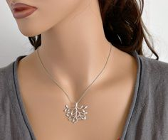 Tree Necklace, white gold plated, by balance9