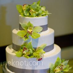 gray ribbons & green orchids. Our could be white chocolate buttercream, dark chocolate ribbon & green orchids