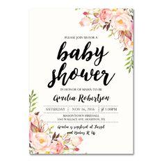 DIY!  Editable PDF Baby Shower Invitation DIY - Elegant Vintage Watercolor Flowers - Instant Download Printable- Edit in Adobe Reader