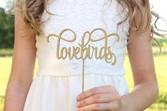 Lovebirds Cake Topper Glitter Cake Topper by DownInTheBoondocks