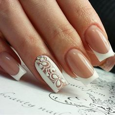 Nails Nails Design French Bling Beste Ideen A Guide To Balding Men's Hairstyles It's unbe French Nail Designs, Short Nail Designs, Beautiful Nail Designs, Acrylic Nail Designs, Nail Art Designs, Nails Design, Lace Nail Art, Lace Nails, French Acrylic Nails