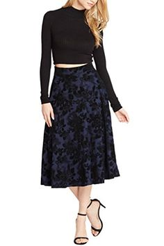 Women's Fashion Trendy Velvet Floral Midi Circle High Waist Skirt USA NV M   Special Offer: $29.00      211 Reviews Elegant, black floral print graces this classic midi skirt and mimics vintage beauty. Medium-weight woven fabric falls from a fitted high waist into a full circle skirt...